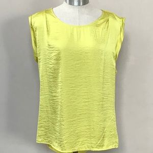 NWT LIMITED Gold High Low Short Sleeve Blouse L